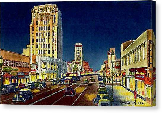 Myer- Siegel Department Store And The Miracle Mile In Los Angeles Ca Around 1940 Canvas Print