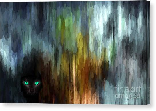 Mountain Caves Canvas Print - Mysterious Black Leopard Cat  by Heinz G Mielke