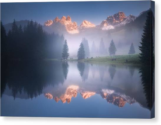 Alps Canvas Print - Mysterious Morning By The Lake by Daniel ?e?icha