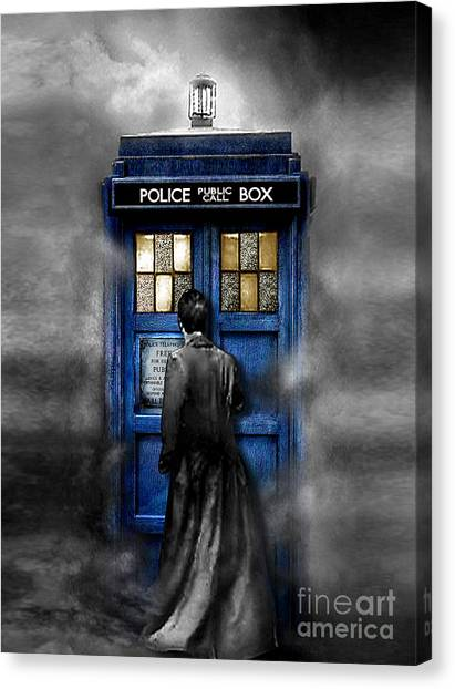 Back To The Future Canvas Print - Mysterious Time Traveller With Black Jacket by Lugu Poerawidjaja