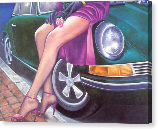 Mystery On Peter's Porsche Canvas Print