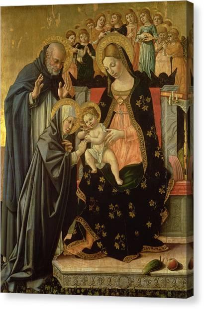 Nuns Canvas Print - Mystic Marriage Of St. Catherine, Detail Panel by Lorenzo da Sanseverino