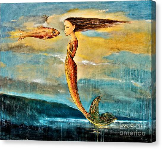 Mythological Creatures Canvas Print - Mystic Mermaid IIi by Shijun Munns