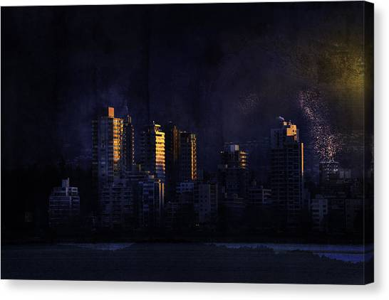 Mystic Orange Glowing Sunrise On Vancouver   Canvas Print