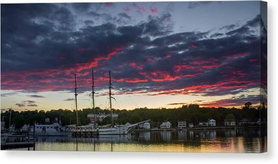Mystic River Burning Sunset Canvas Print