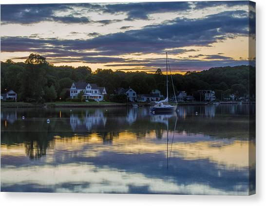 Mystic River Sunset Reflection Canvas Print