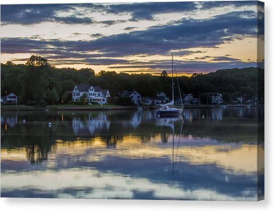 Mystic River Sunset Reflection Canvas Print