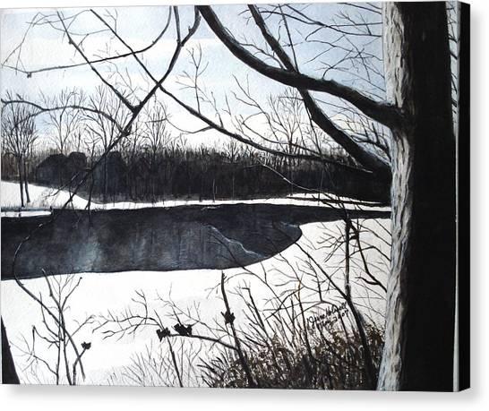Mystic River - Winter Remnants Canvas Print