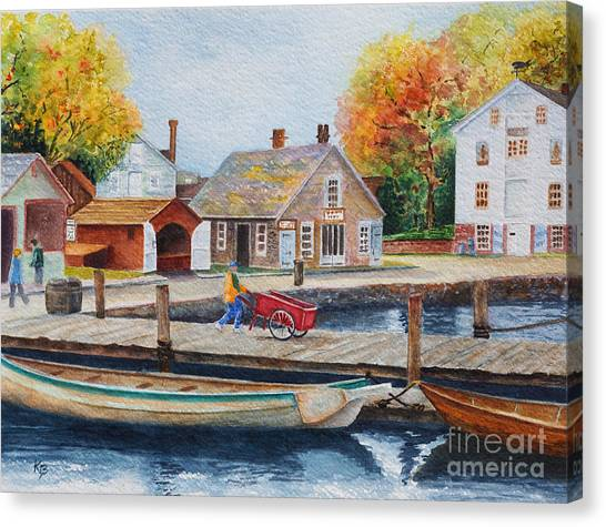 Canvas Print featuring the painting Mystic Seaport by Karen Fleschler