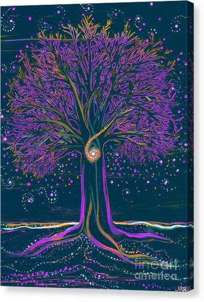 Mystic Spiral Tree 1 Purple Canvas Print