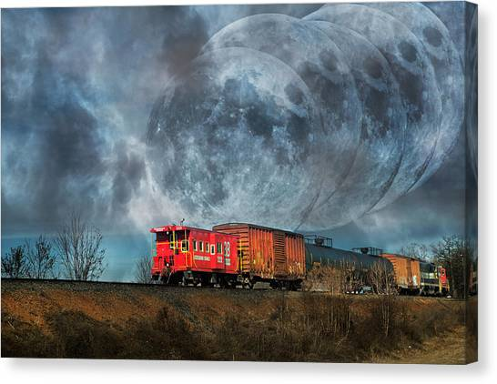 Caboose Canvas Print - Mystic Tracking by Betsy Knapp