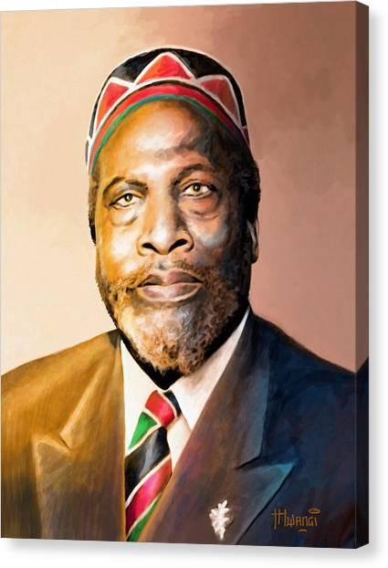 George Bush Canvas Print - Mzee Jomo Kenyatta by Anthony Mwangi