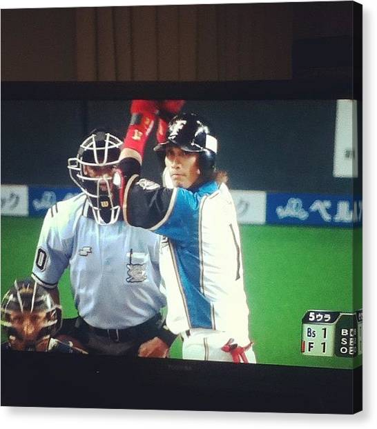 Baseball Teams Canvas Print - 陽さあああぁぁん #野球 by Miori Bando