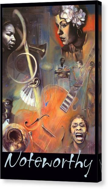 Music Genres Canvas Print - N O T E W O R T H Y - Pastel Art - Border And Title by Brooks Garten Hauschild