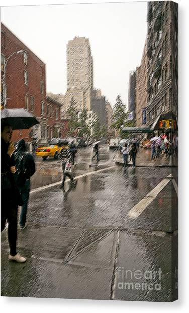 New York University Canvas Print - N Y U In The Rain by David Bearden