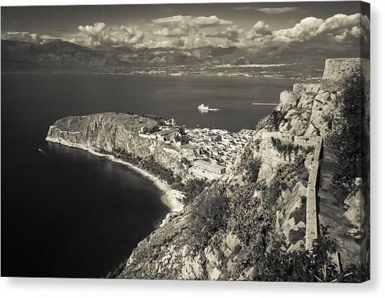 Nafplio Peninsula Sepia Canvas Print by David Waldo