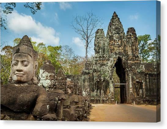 Naga Statues On The Bridge To Angkor Canvas Print