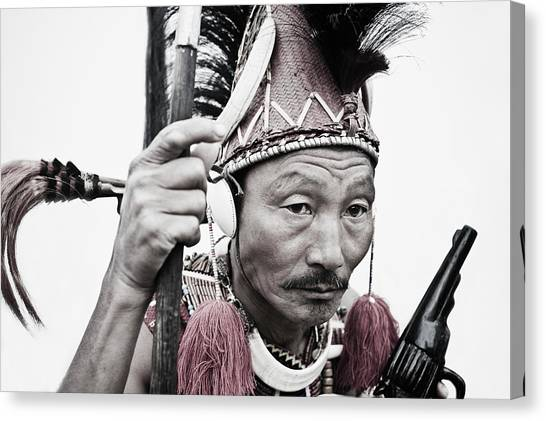 Naga Tribal Warrior In Traditional Canvas Print by Exotica.im