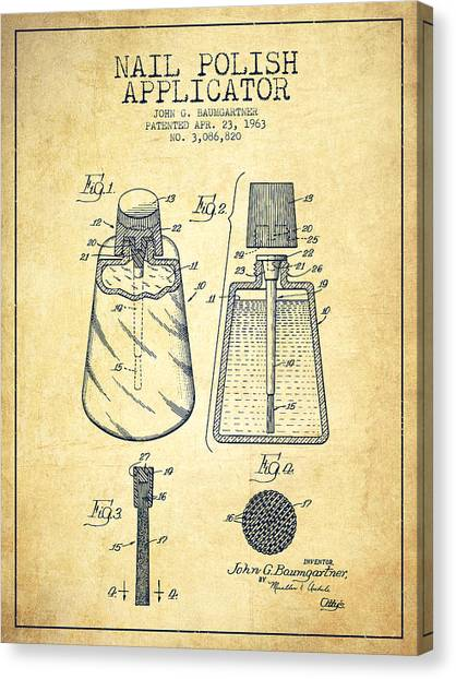 Nails Canvas Print - Nail Polish Applicator Patent From 1963 - Vintage by Aged Pixel