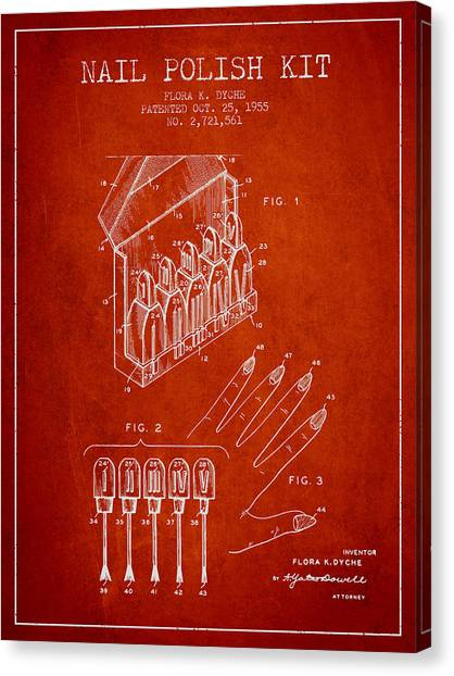 Nails Canvas Print - Nail Polish Kit Patent From 1955 - Red by Aged Pixel