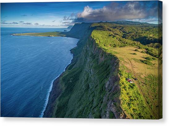 Kalaupapa Cliffs Canvas Print - Naiwa Cliffs On Molokais North Shore by Richard A Cooke Iii.