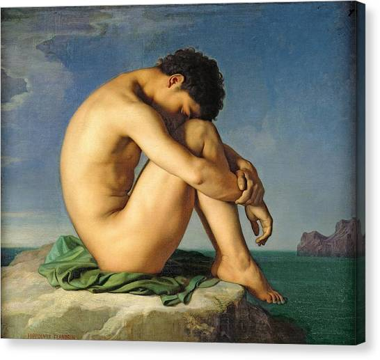 Neoclassical Art Canvas Print - Naked Young Man Sitting By The Sea, 1836 Oil On Canvas by Hippolyte Flandrin
