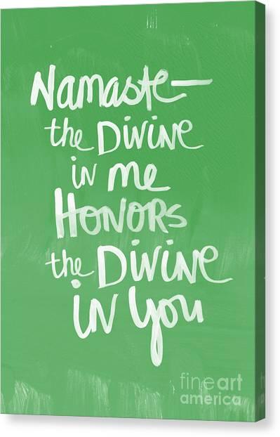 Buddhist Canvas Print - Namaste Card by Linda Woods