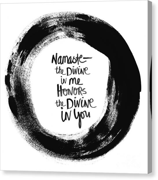 Yoga Canvas Print - Namaste Enso by Linda Woods