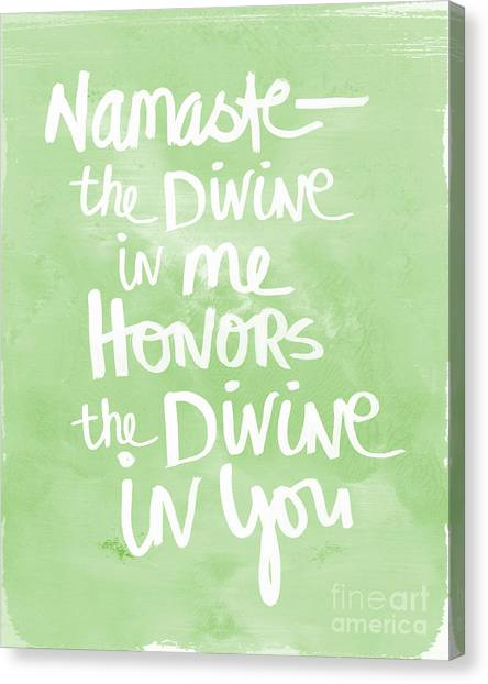 Gym Canvas Print - Namaste Green And White by Linda Woods