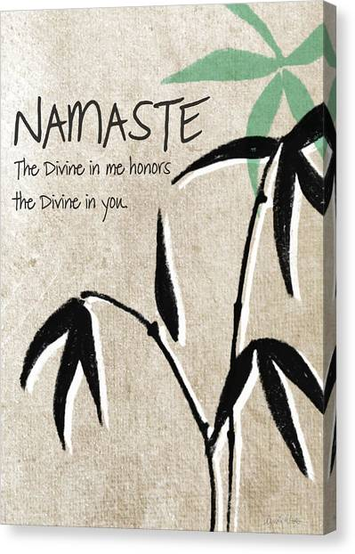 Bamboo Canvas Print - Namaste Greeting Card by Linda Woods