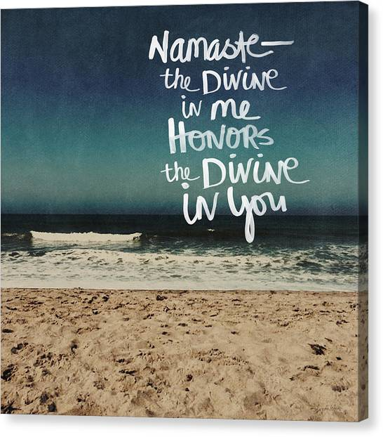 Yoga Canvas Print - Namaste Waves  by Linda Woods