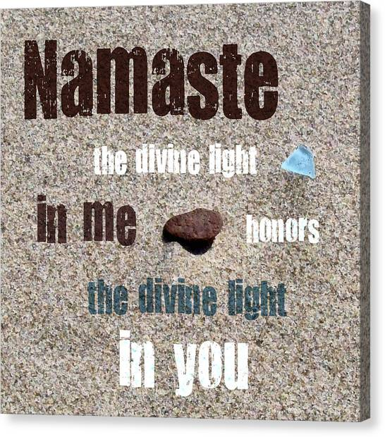 Namaste With Beach Glass And Pebble Canvas Print