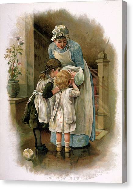 New Baby Canvas Print - Nanny Holds The New Baby For  Brother by Mary Evans Picture Library