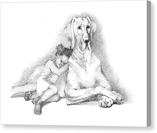 Nap Time. Dog And A Girl. Stippling. Canvas Print