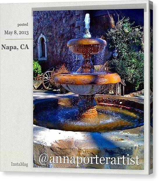 Winery Canvas Print - Napa California Fountain by Anna Porter