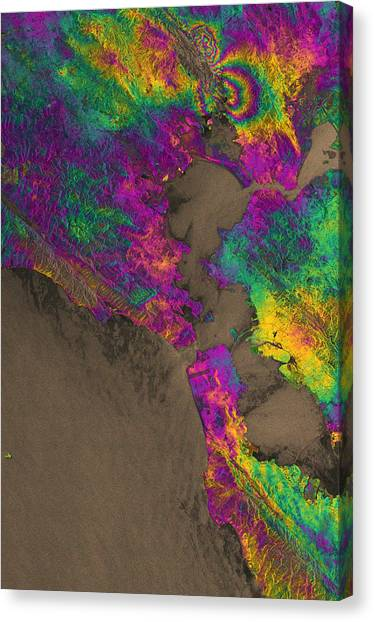 Satellite Canvas Print - Napa Valley Earthquake, 2014 by Science Source
