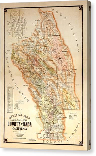Wine Country Canvas Print - Napa Valley Map 1895 by Jon Neidert