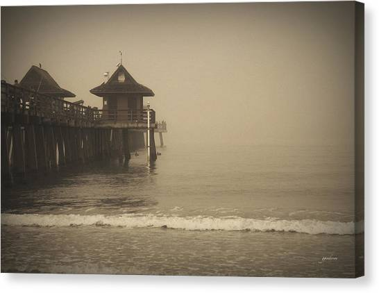 Naples Pier In The Fog Canvas Print