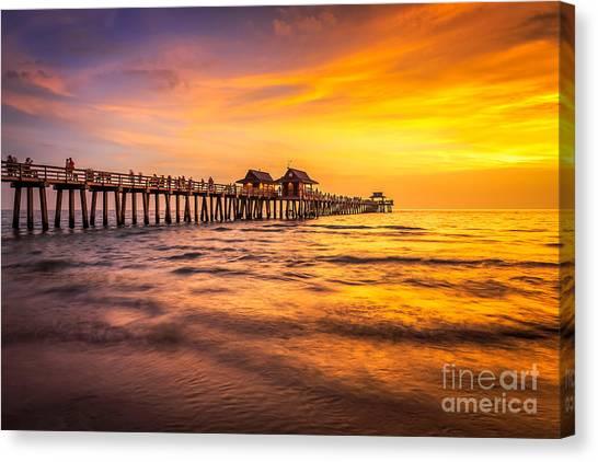 Naples Pier Sunset Canvas Print