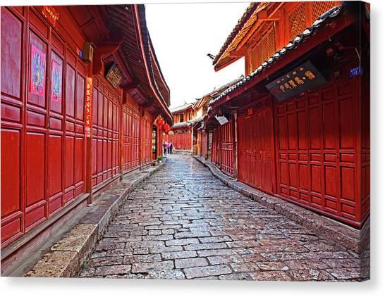 China Town Canvas Print - Narrow Streets Of Old Town by John W Banagan