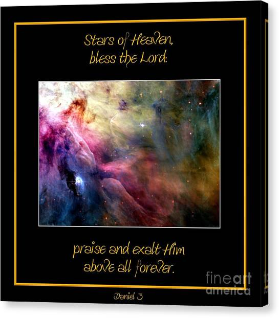 Canvas Print featuring the photograph Nasa Ll Ori And The Orion Nebula Stars Of Heaven Bless The Lord by Rose Santuci-Sofranko
