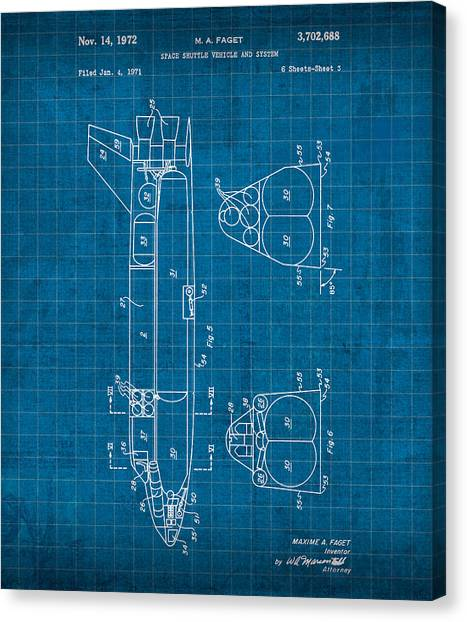 Space Ships Canvas Print - Nasa Space Shuttle Vintage Patent Diagram Blueprint by Design Turnpike