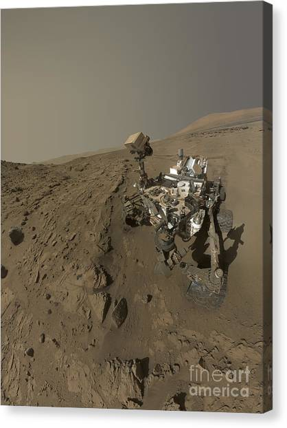 Self Discovery Canvas Print - Nasas Curiosity Mars Rover On Planet by Stocktrek Images