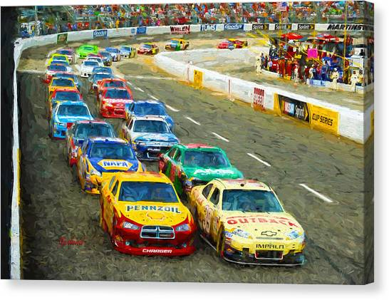 Stock Cars Canvas Print - Nascar by Garland Johnson