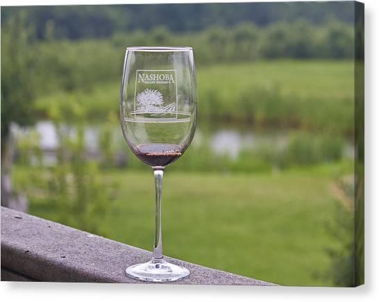 Nashoba Winery Wine Glass Canvas Print by John Hoey