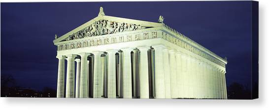 The Parthenon Canvas Print - Nashville Parthenon At Night by Panoramic Images