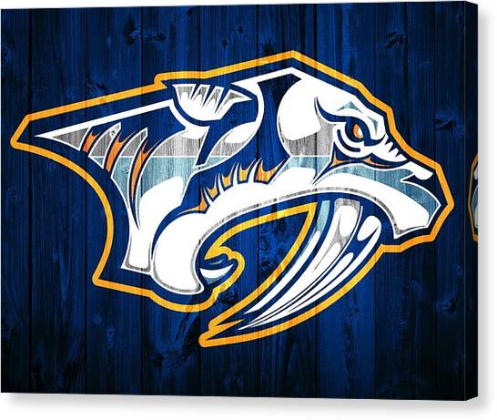 Nashville Predators Canvas Print - Nashville Predators Barn Door by Dan Sproul