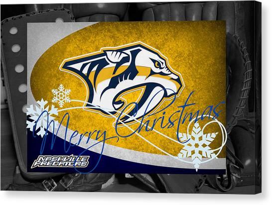 Nashville Predators Canvas Print - Nashville Predators Christmas by Joe Hamilton