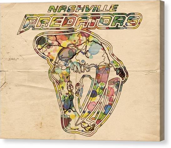 Nashville Predators Canvas Print - Nashville Predators Retro Poster by Florian Rodarte