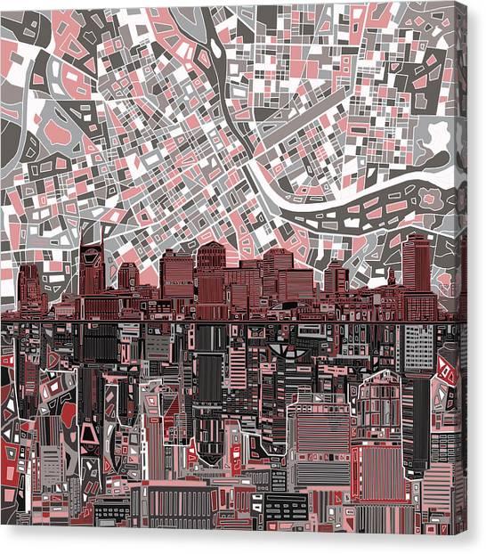 Nashville Skyline Canvas Print - Nashville Skyline Abstract 3 by Bekim Art